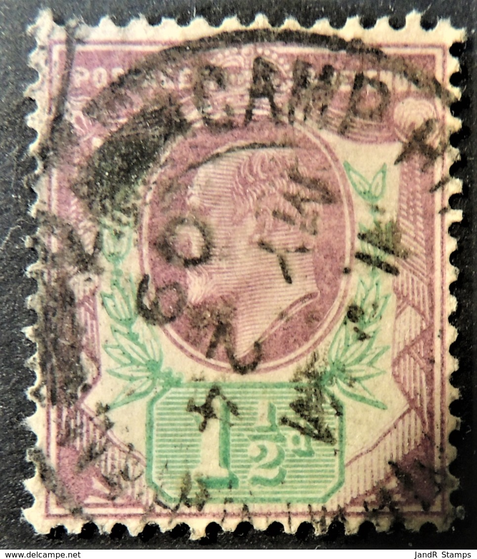 GB Edward VII 1902 1 1/2d Green And Purple Used CDS CAMP HILL Cancellation May24 1909 SG221  JandRStamps - Oblitérés