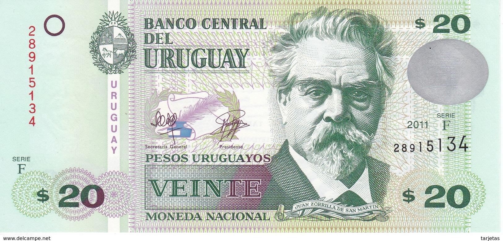 BILLETE DE URUGUAY DE 20 PESOS DEL AÑO 2011 SIN CIRCULAR-UNCIRCULATED (BANKNOTE) - Uruguay