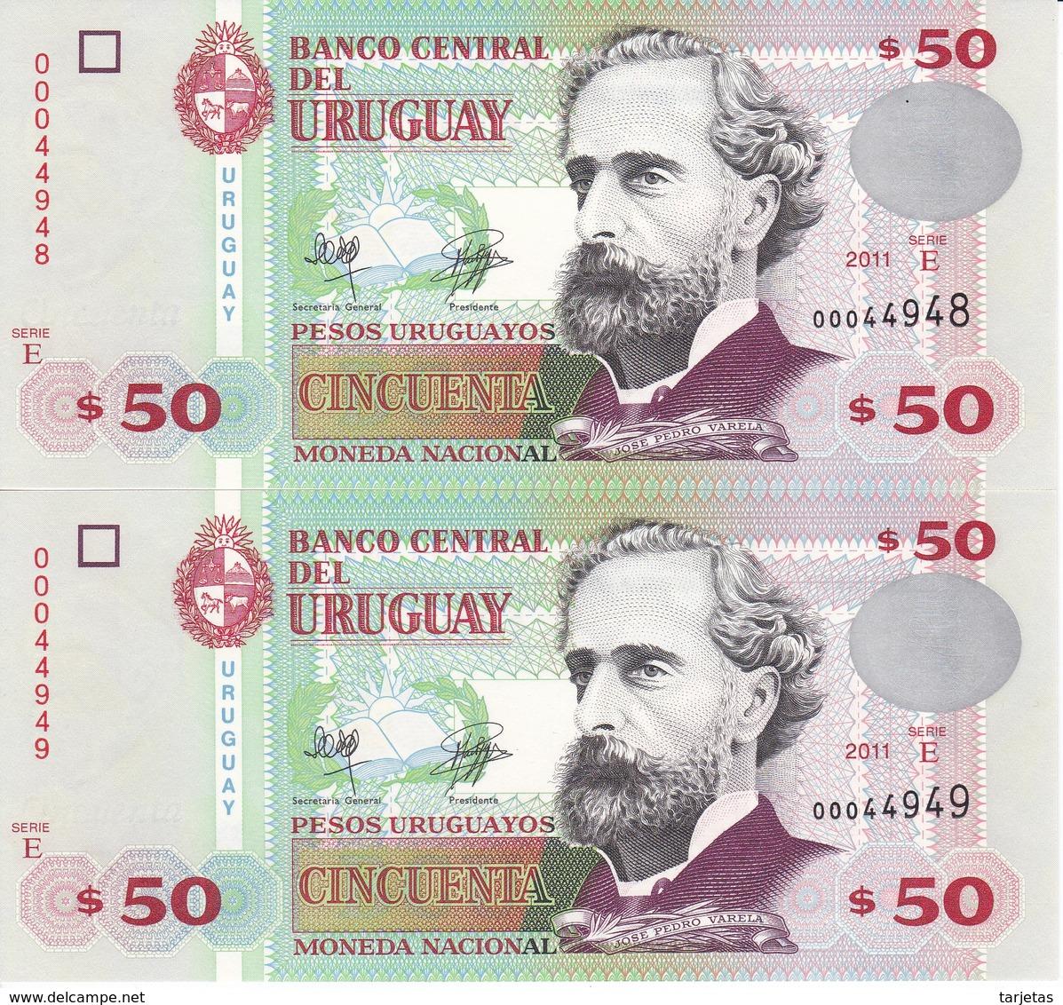 PAREJA CORRELATIVA DE URUGUAY DE 50 PESOS DEL AÑO 2011 SIN CIRCULAR-UNCIRCULATED (BANKNOTE) - Uruguay