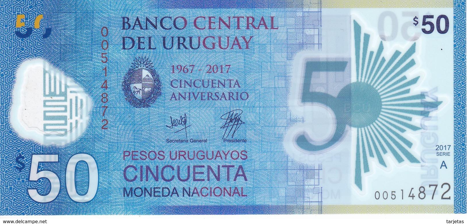 BILLETE DE URUGUAY DE 50 PESOS DEL AÑO 2017 SIN CIRCULAR-UNCIRCULATED (BANKNOTE) - Uruguay