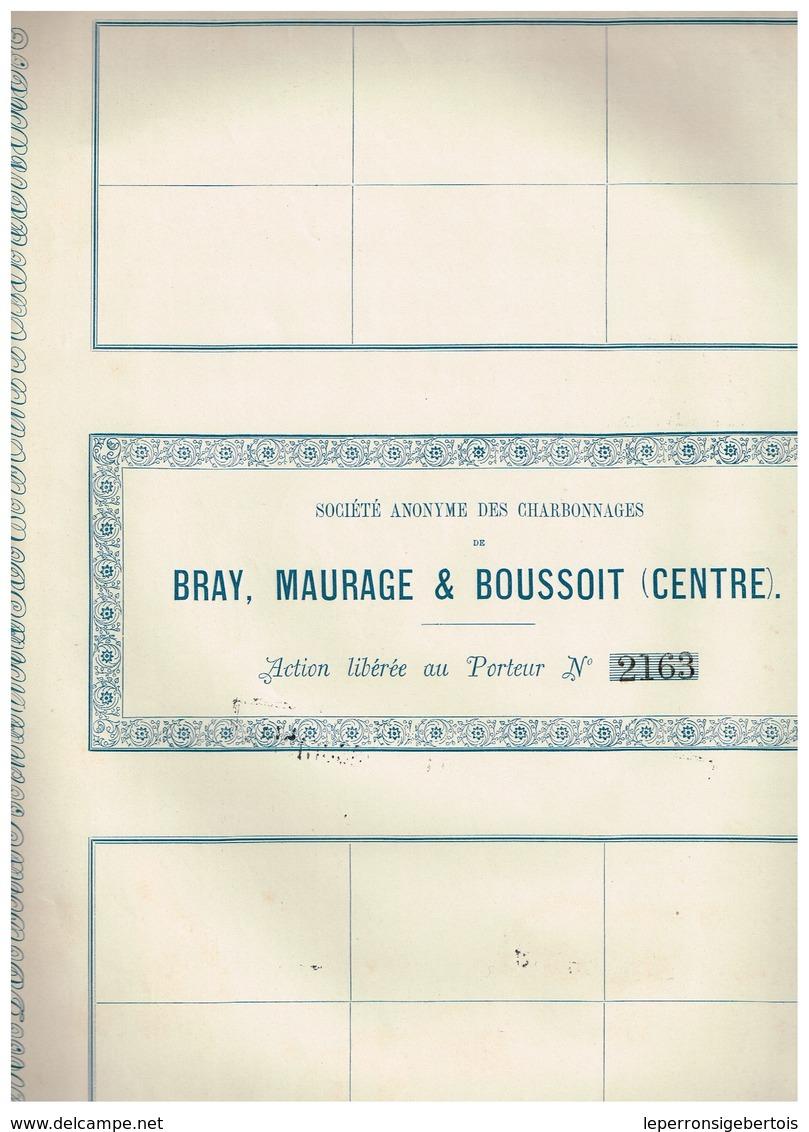 Ancienne Action - Sté Anonyme Des Charbonnages De Bray, Maurage, & Boussoit - Titre De 1874- N° 2163 - Mines