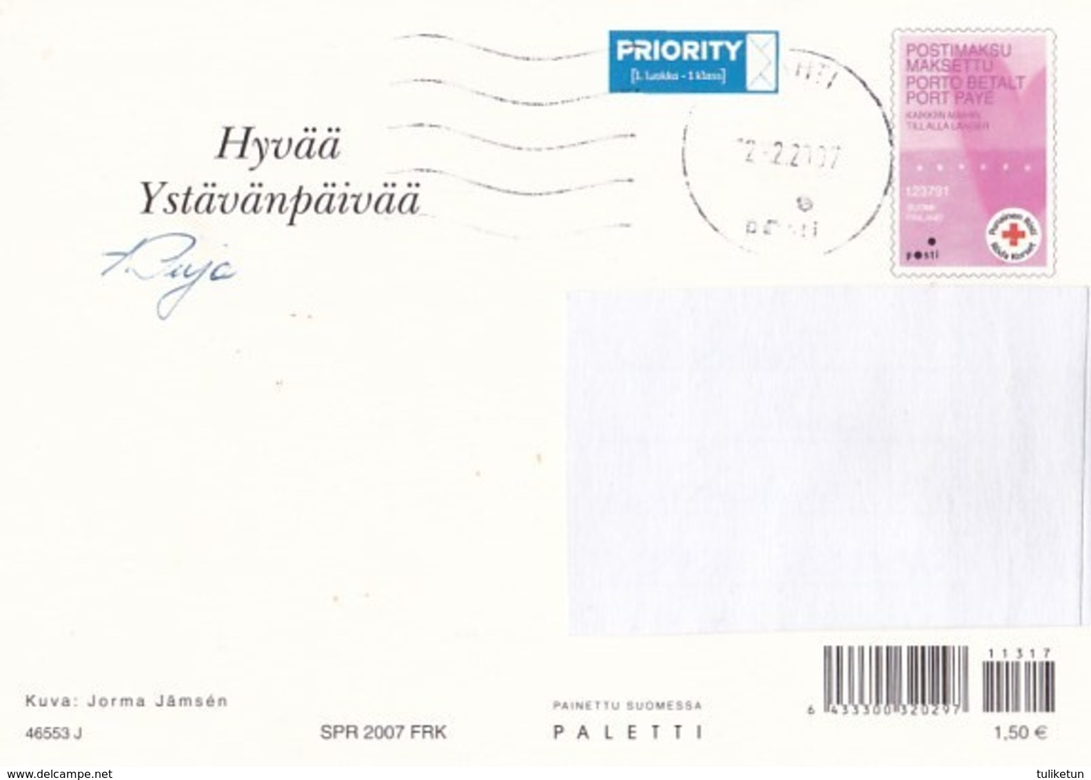 Postal Stationery - Flowers - Roses With Chocolate - Red Cross 2007 - Suomi Finland - Postage Paid - Finlande