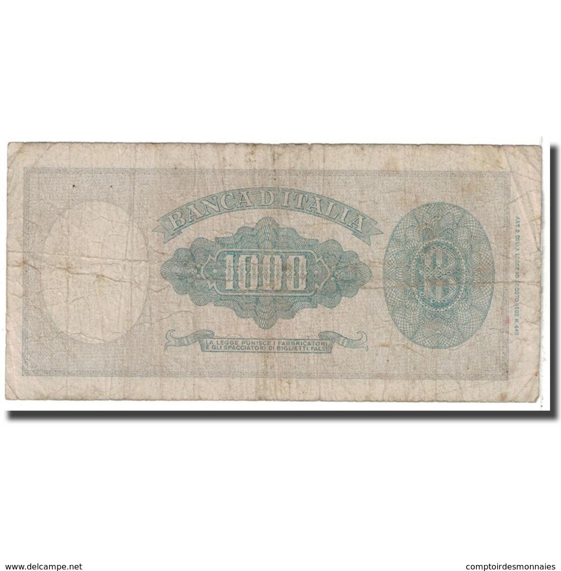Billet, Italie, 1000 Lire, 1947, 1947-08-05, KM:72c, B - [ 2] 1946-… : République