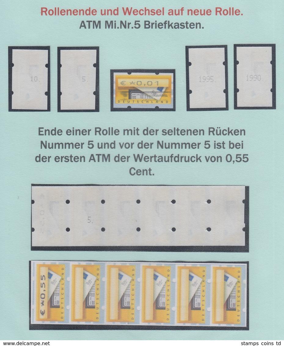 ATM Mi-Nr. 5.1 Dokumentation Rollenwechsel, U.a. Zählnummern 10, 5, 1995, 1990  - Automatenmarken