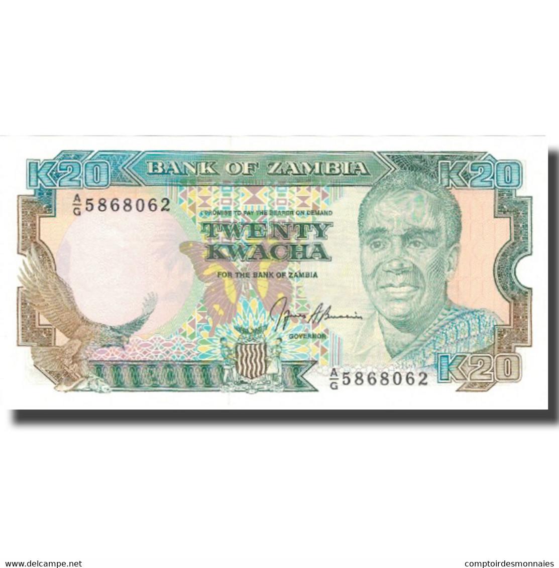 Billet, Zambie, 20 Kwacha, Undated (1989-91), KM:32b, SPL+ - Zambie