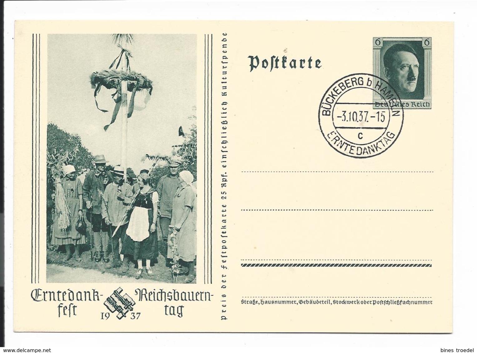DR P 265 - 6 Hitler Erntedank Mit Bl. Sonderstempel  C - Deutschland