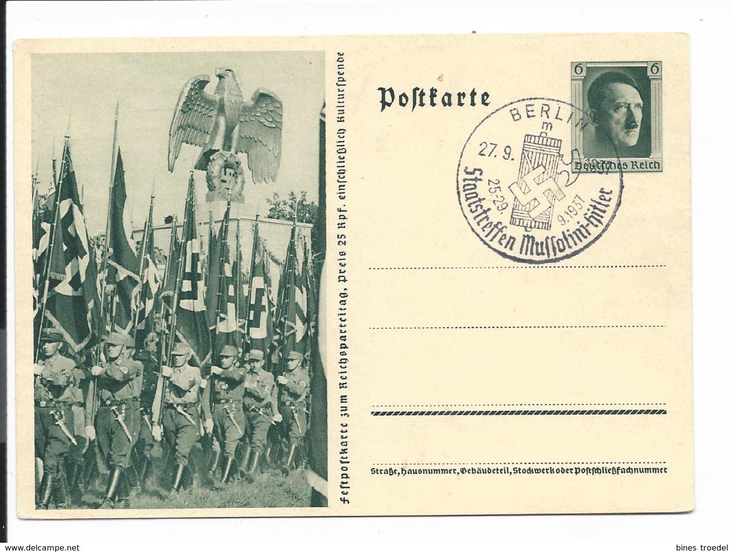 DR P 264-03 - 6 Pf Reichsparteitag Einmarsch Mit Sonderstempel München Staatstreffen Mussolini-Hitler - Ganzsachen