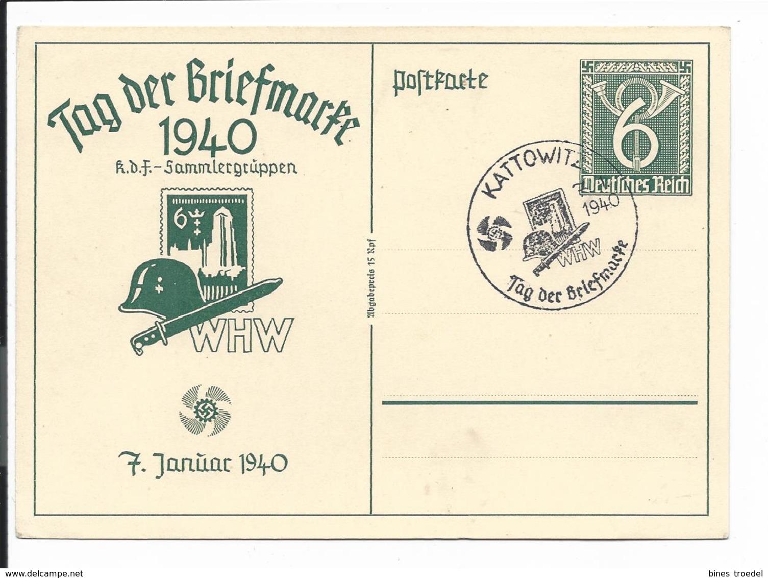 DR P 288 - 6 Pf WHW Tag Der Briefmarke Danzig Mit Bl Sonderstempel Kattowitz - Deutschland