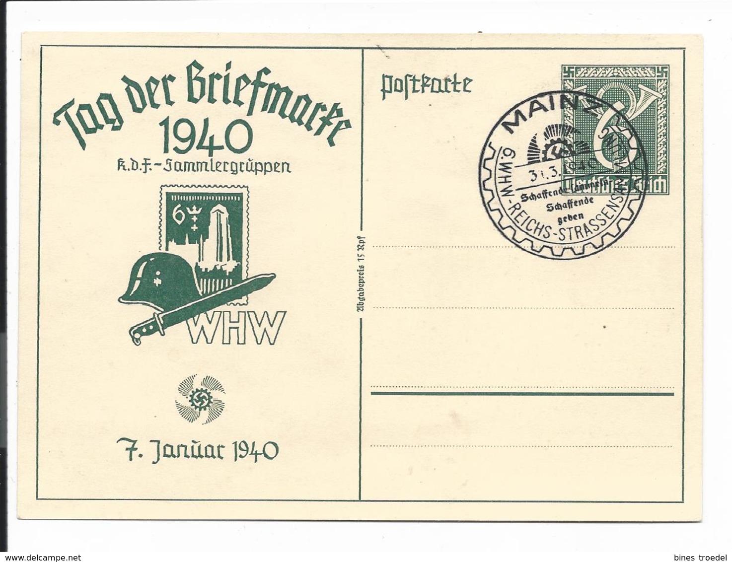 DR P 288 - 6 Pf WHW Tag Der Briefmarke Danzig Mit Bl Sonderstempel Mainz, 6. WHW-Strassensammlung - Ganzsachen