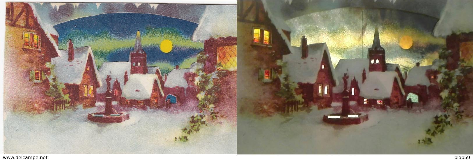 Cpa 2 Scans Transparente Système Contre La Lumière Edit EASscène D'hiver Sous La Neige - Contre La Lumière