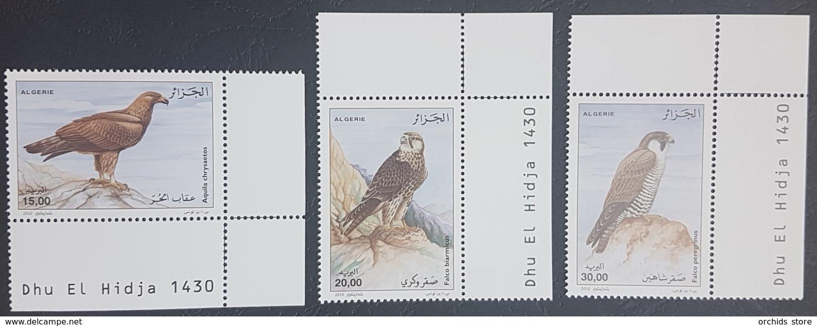 Algeria 2010 MNH Complete Set 3v. - Raptors Birds - Eagles & Falcons - Dated Corners - Algeria (1962-...)