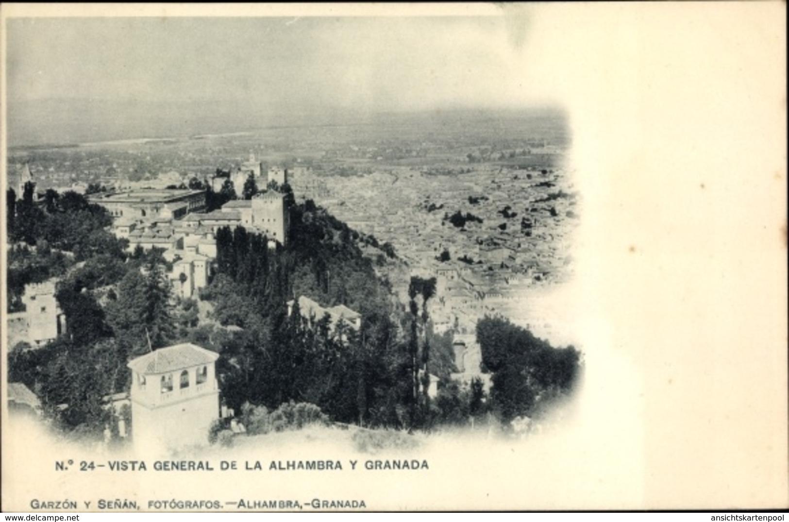 Cp Granada Andalusien Spanien, Vista General De La Alhambra - España