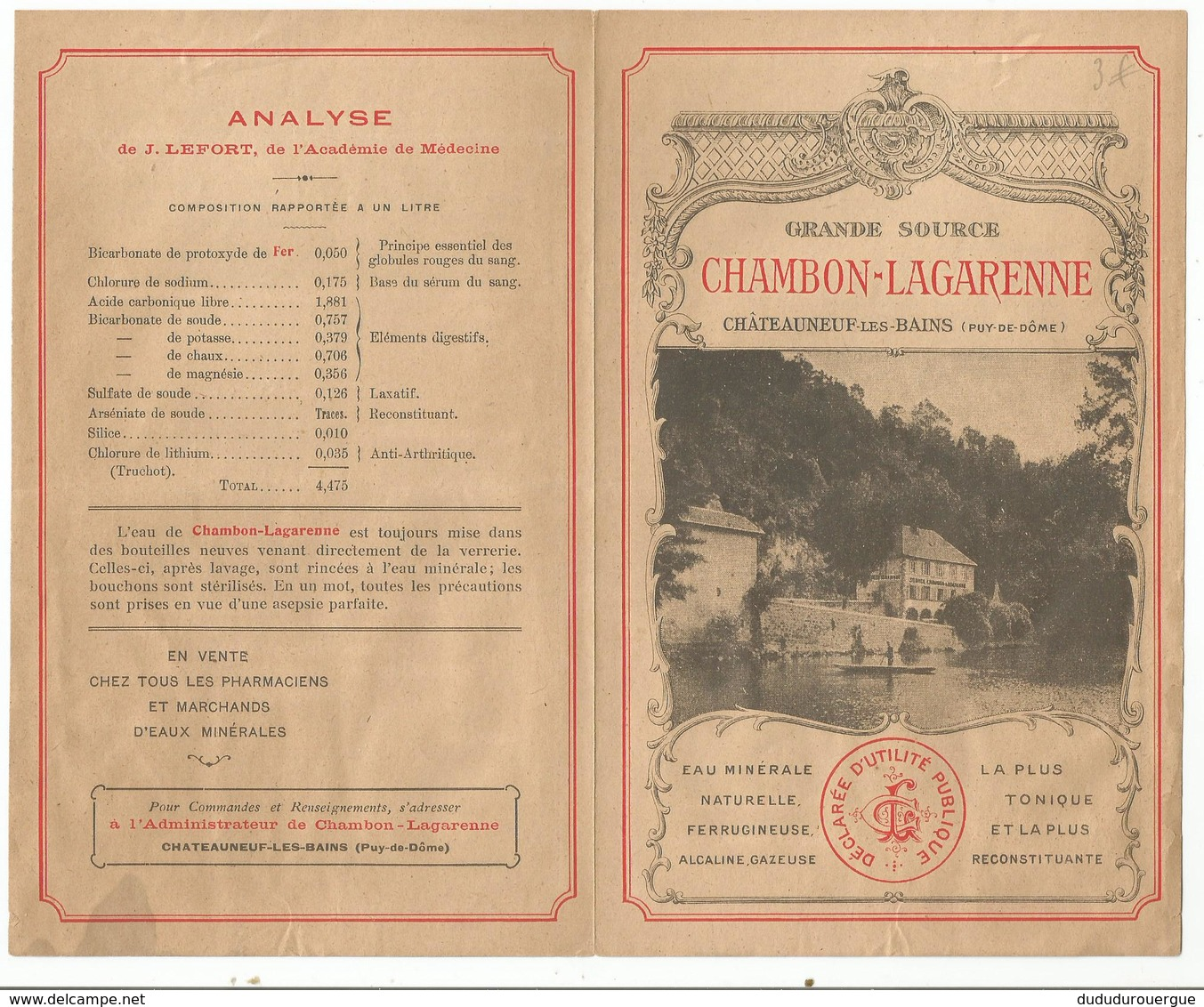 CHATEAUNEUF - LES - BAINS : GRANDE SOURCE CHAMBON - LAGARENNE - Publicités