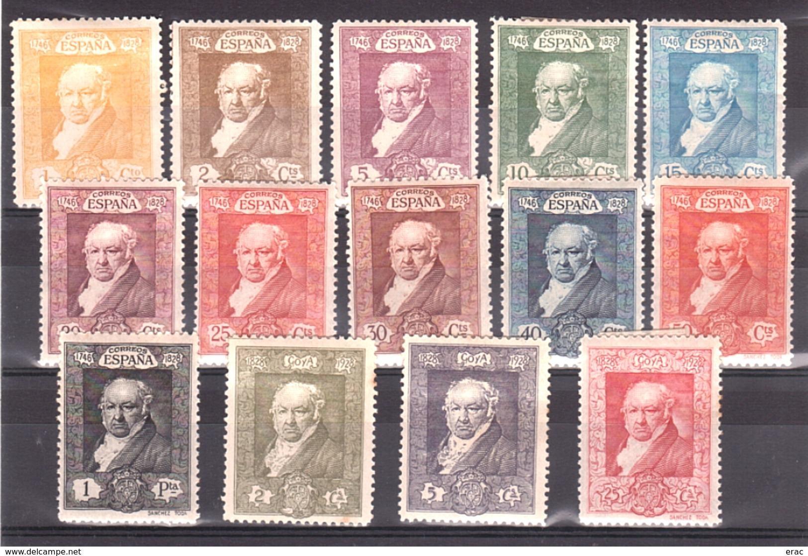 Espagne - 1930 - N° 412 à 422 + 426 à 428 - Neufs * - Goya - 1889-1931 Royaume: Alphonse XIII