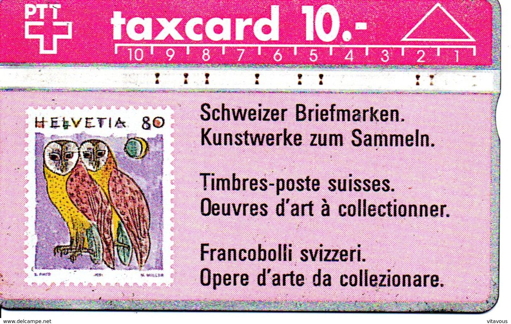 Stamp Timbre Poste  Oiseau Chouette Hibou  Owl Télécarte Suisse Taxcard Phonecard  (G 103) - Timbres & Monnaies