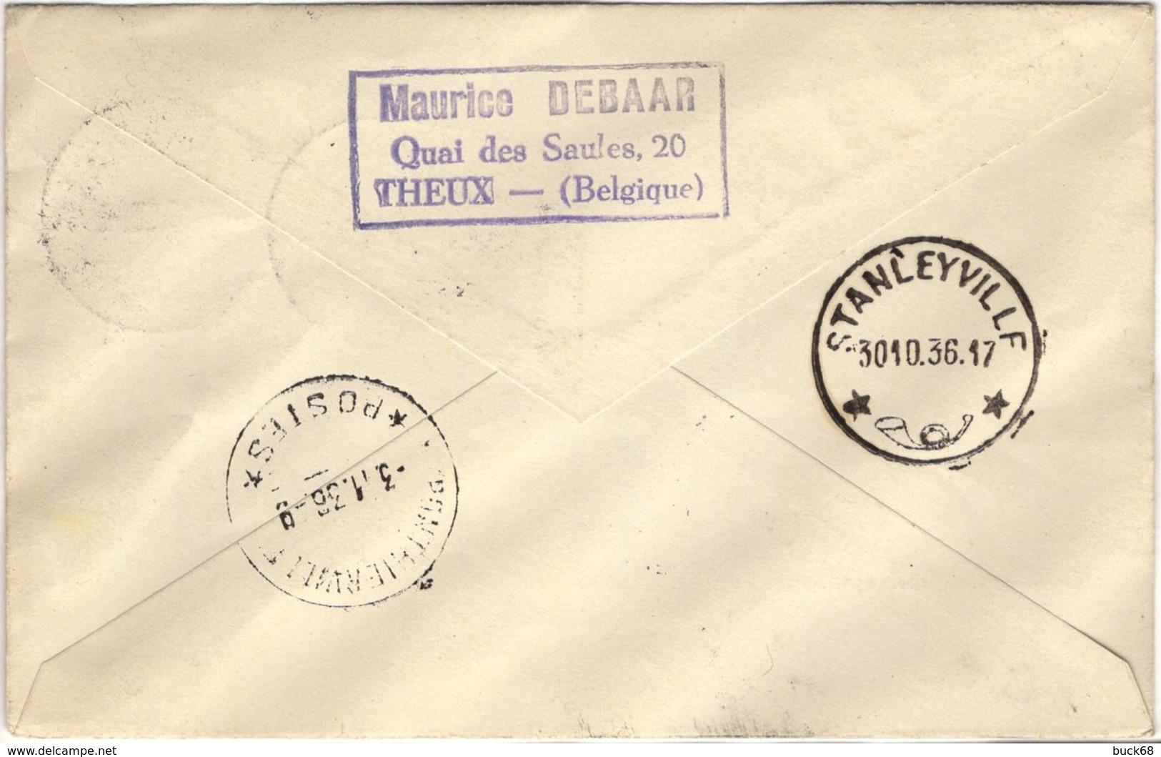 CONGO BELGE 136 Pa7 1er Vol Flight Sabena Elisabethville Bruxelles Escale Ponthierville Ubundu Stanleyville 1936 - Airmail: Covers