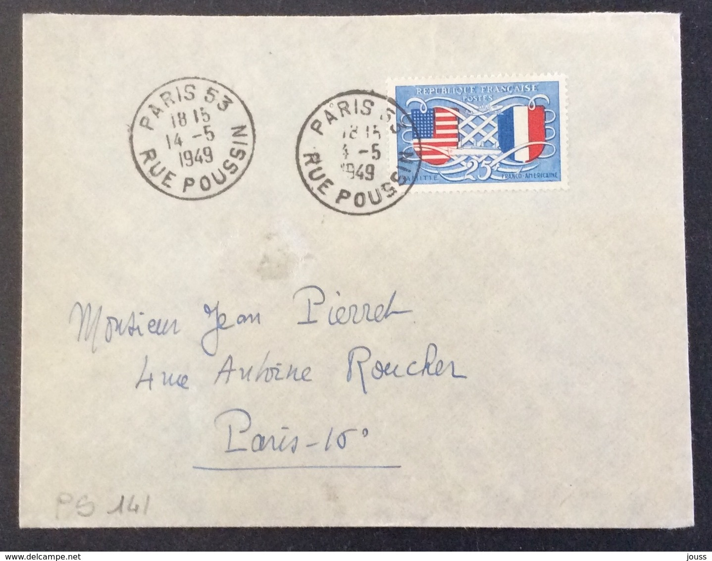PS141 Amitié Franco-Américaine 840 Premier Jour 14/5/1949 - Postmark Collection (Covers)