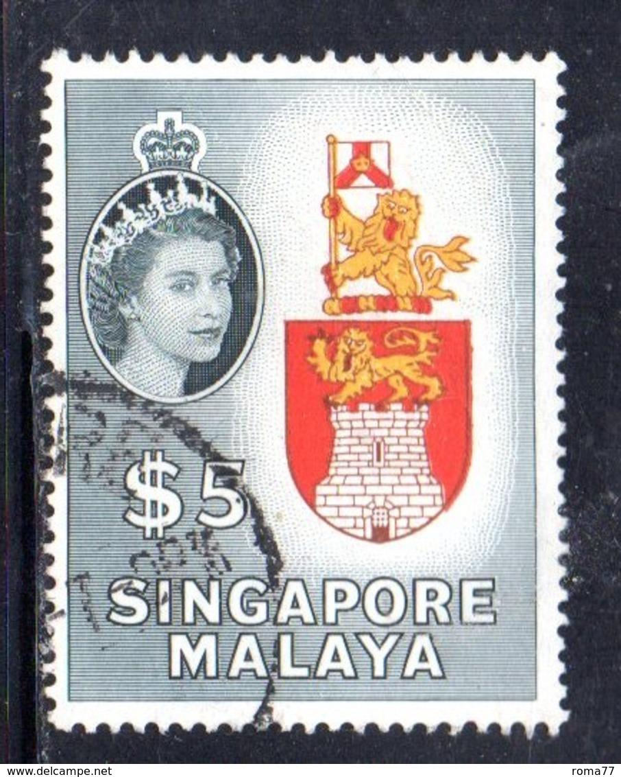 CI1103 - SINGAPORE 1955 , Ordinaria 5 Doll Yvert N. 42  Usato (2380A) . - Singapore (...-1959)