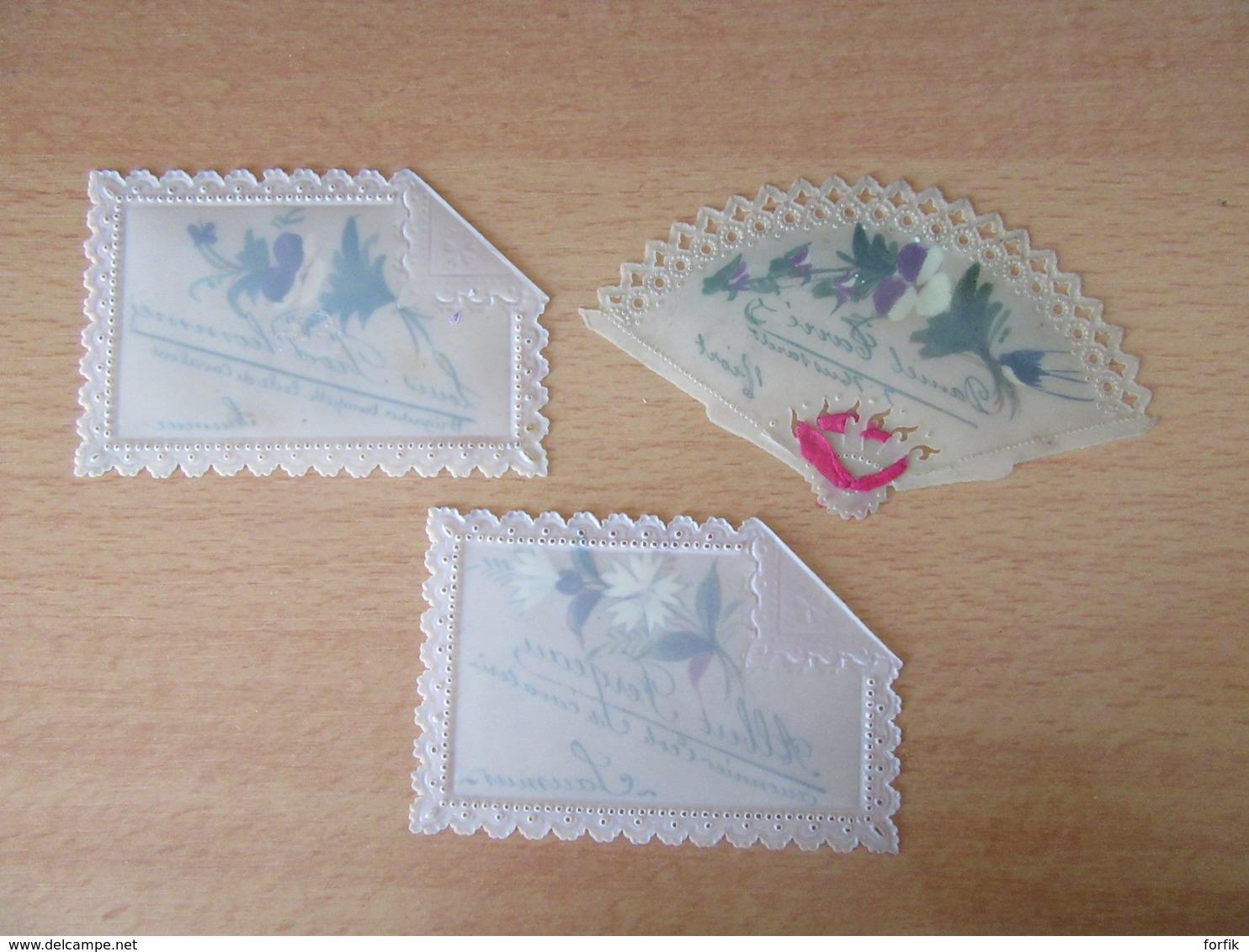Lot De 3 Cartes De Visite En Celluloïde Dont Une En Format éventail - Brigadier, Aumônier, Hussard - Visiting Cards