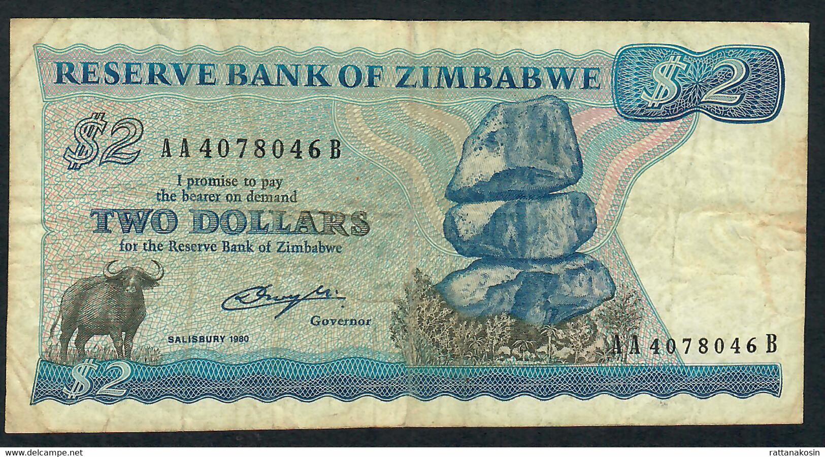 ZIMBABWE P1a 2 DOLLARS 1980 #AA  SALISBURY   VF NO P.h. - Zimbabwe