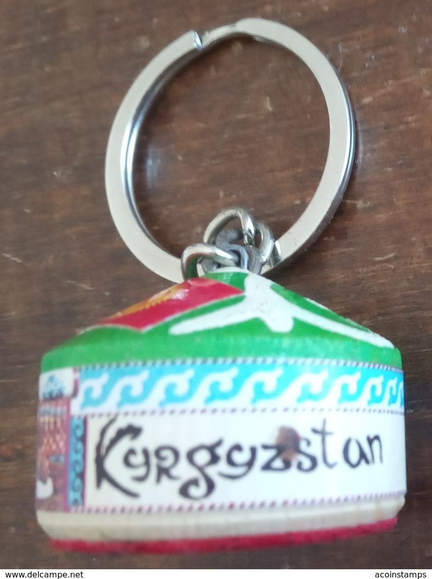 """Kyrgyzstan Unique Key Ring Keychain """"yurta"""",flag,wood,rare Item - Key-rings"""
