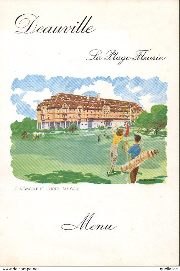 """0978 """"MENU 1956 - DEAUVILLE - LA PLAGE FLEURIE- LE NEW GOLF ET L'HOTEL DU GOLF - LE GRAN DINERS DE CANNES"""" ANIMATO - Menus"""