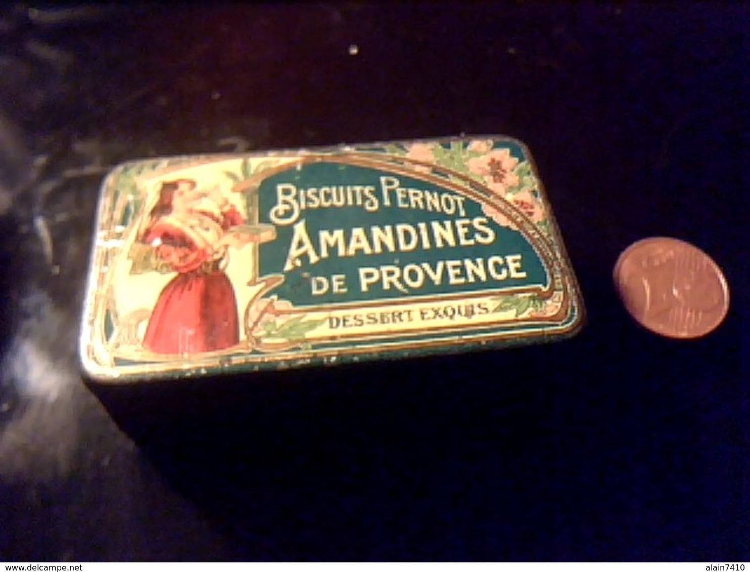 Boite Lithographièe Publicitaire Vide  Fer Peint Biscuits Pernot Amandine De Provence - Boîtes