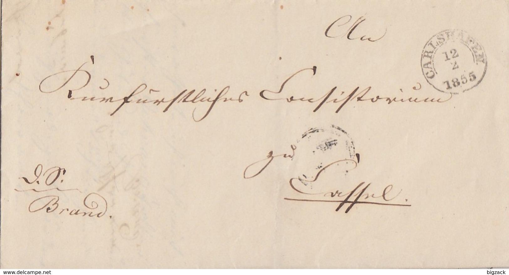 Thurn & Taxis Brief K2 Carlshafen 12.2.1855 Gel. Nach Kassel - Thurn Und Taxis