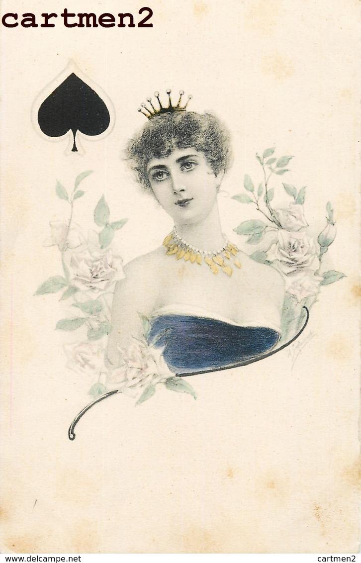 """BELLE SERIE DE 4 CPA 1900 : ILLUSTRATEUR """" LES 4 COULEURS """" CARTES A JOUER TREFLE PIQUE COEUR CARREAU FEMME VIENNOISE - Cartes à Jouer"""