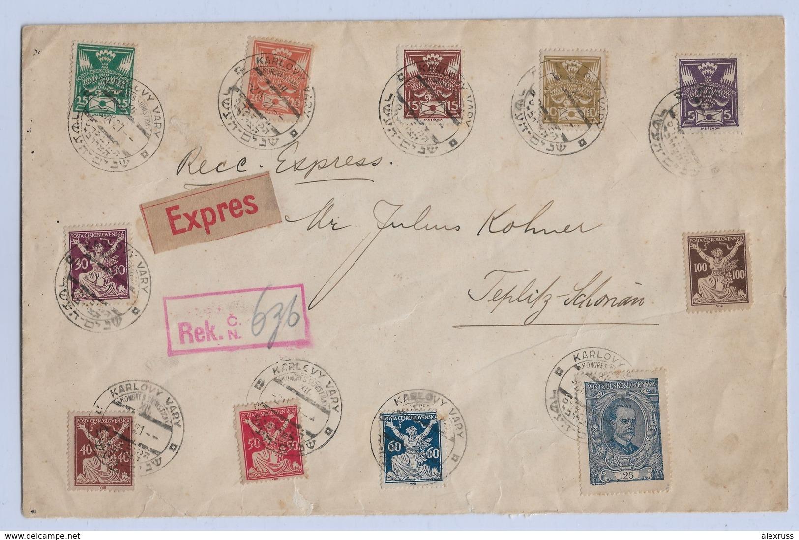 Czechoslovakia 1920-21,Rare Large Express Cover,VF Karlovy Vary Cancellation !! (RN-7 Folder) - Czechoslovakia