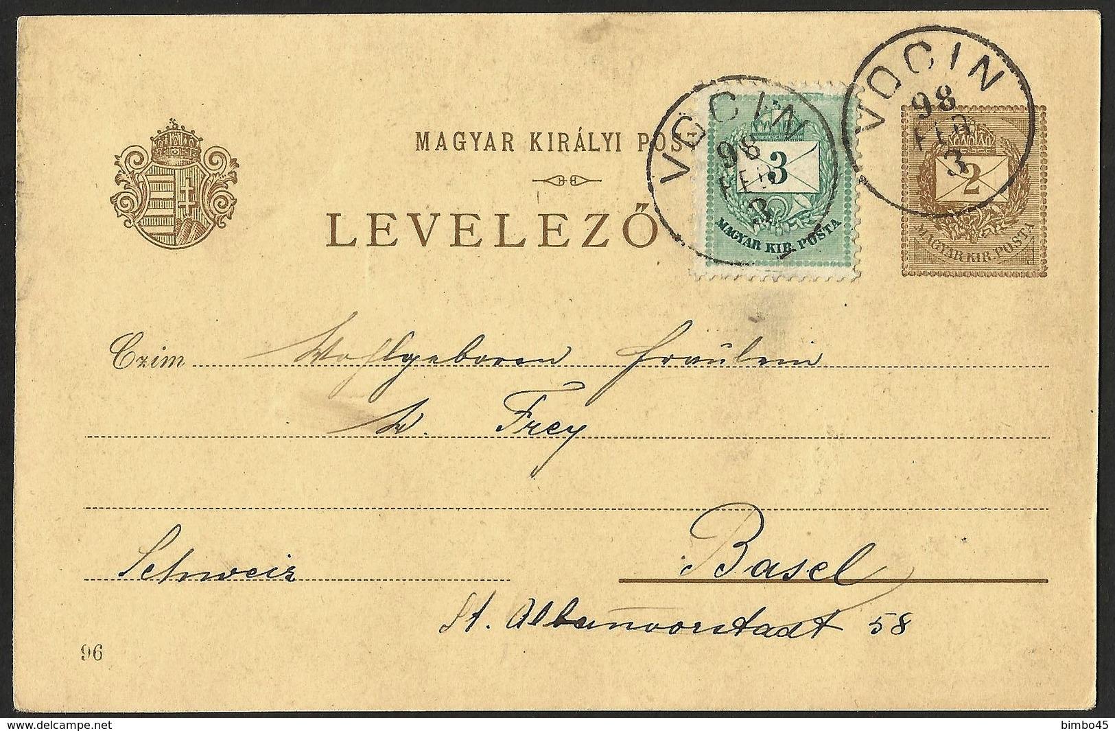 HUNGARY /CROATIA--OBLITERE VOCIN-PROCLAMATION DU ROI MATHIAS I--3 FEB 1898 - Ungheria