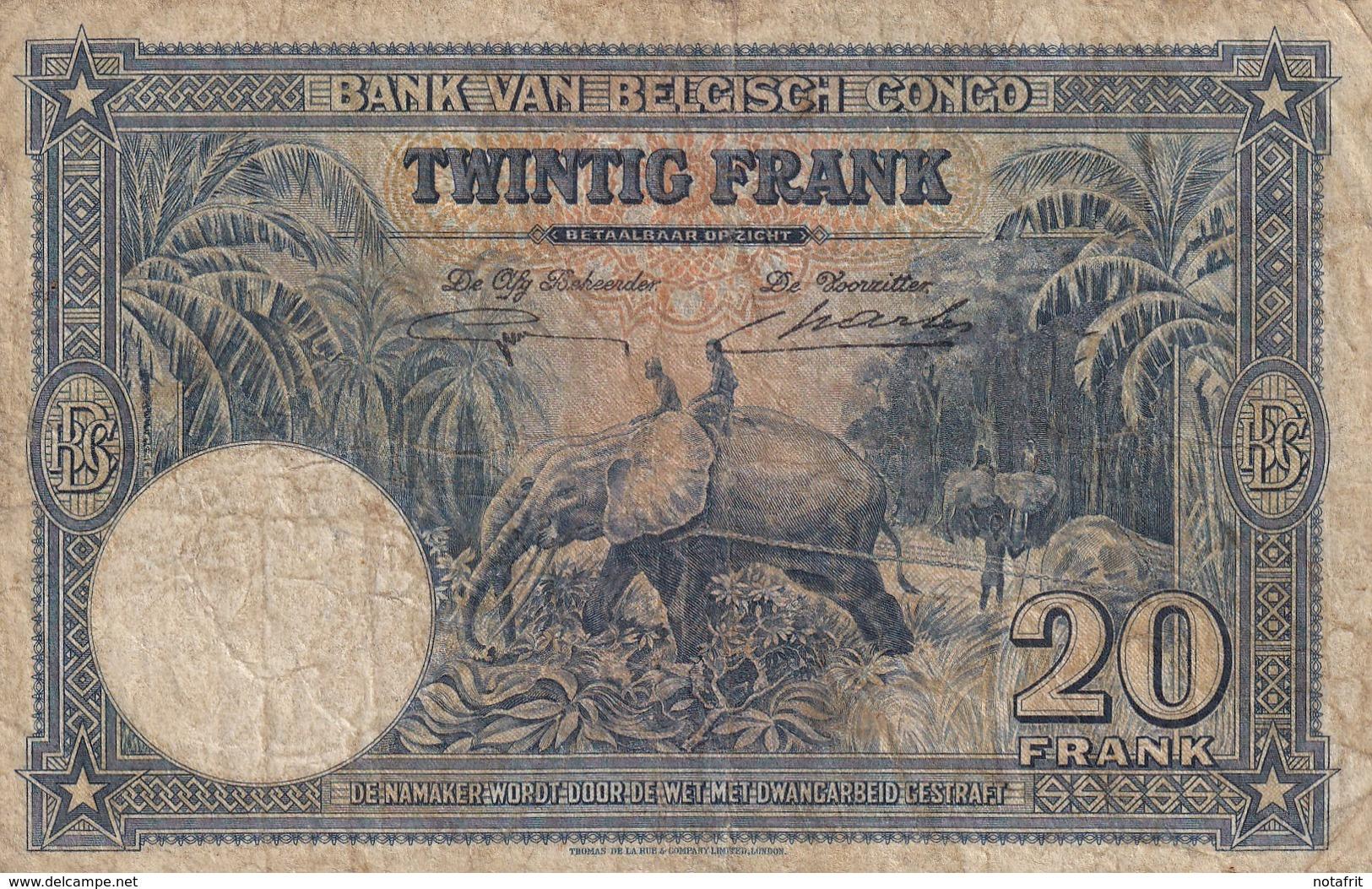 Belgian Congo Kongo 20 Fr 1946 VF+ - Zonder Classificatie