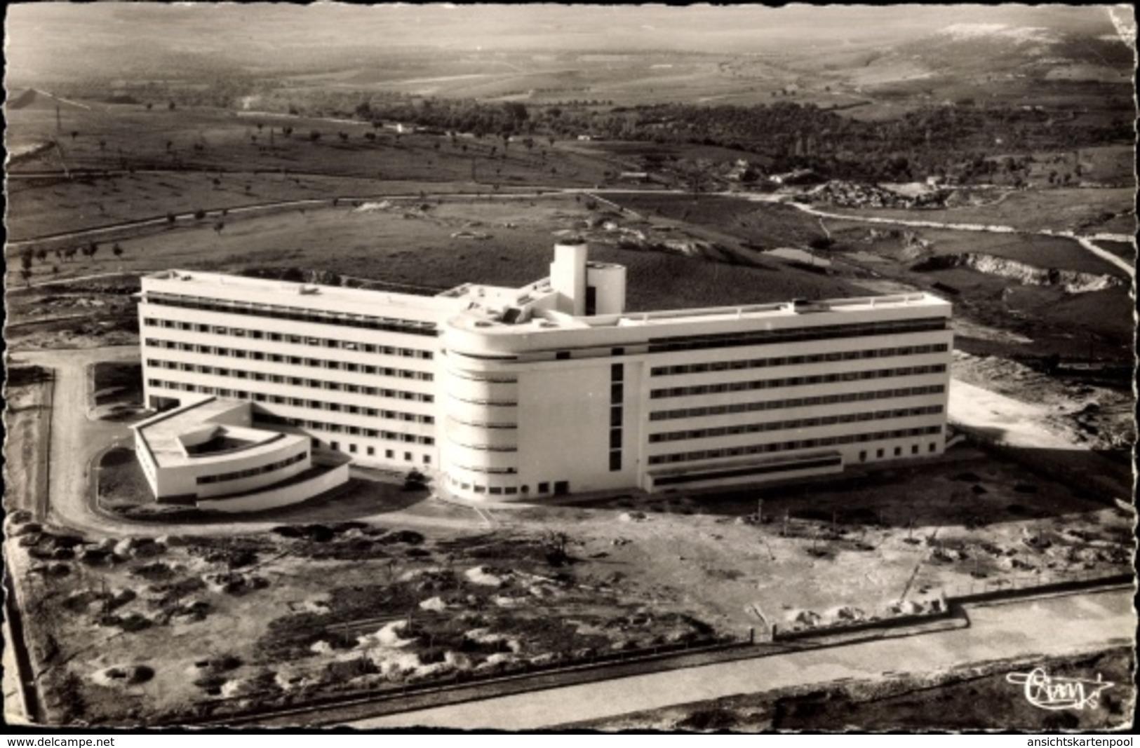 Cp Meknès Marokko, Le Nouvel Hopital Civil, Krankenhaus, Fliegeraufnahme - Maroc
