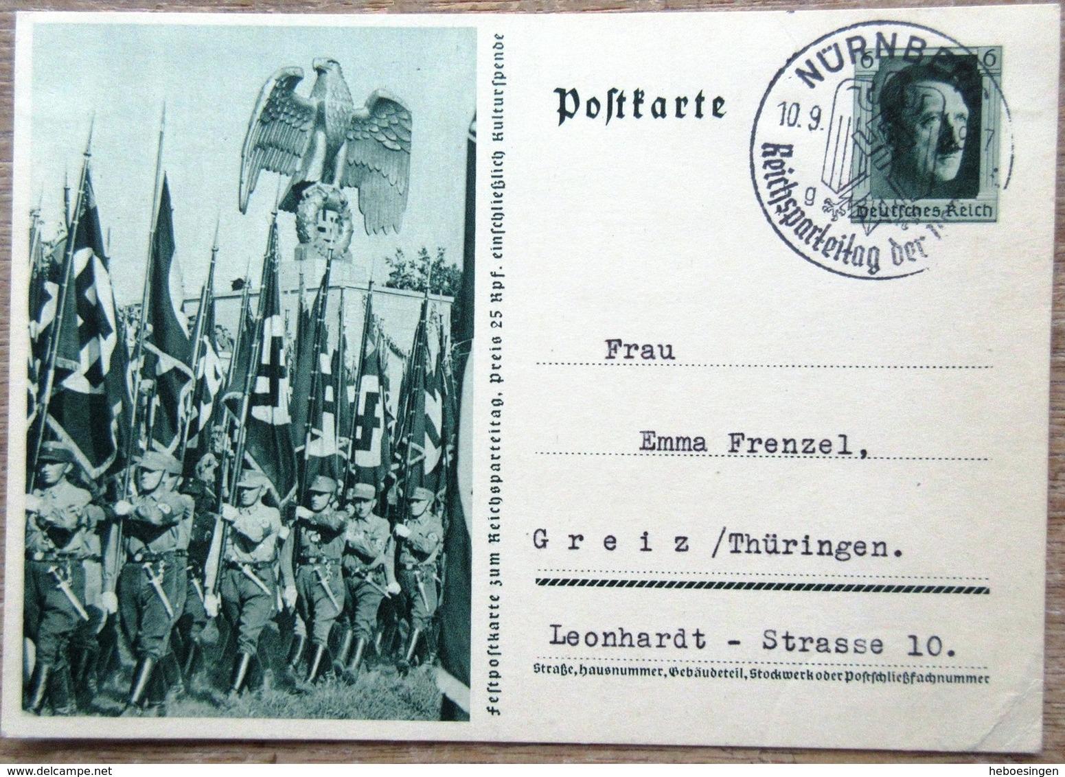 DR Ganzsache 6 Pfg. Hitler Festpostkarte Reichsparteitag SST Nürnberg - Enteros Postales