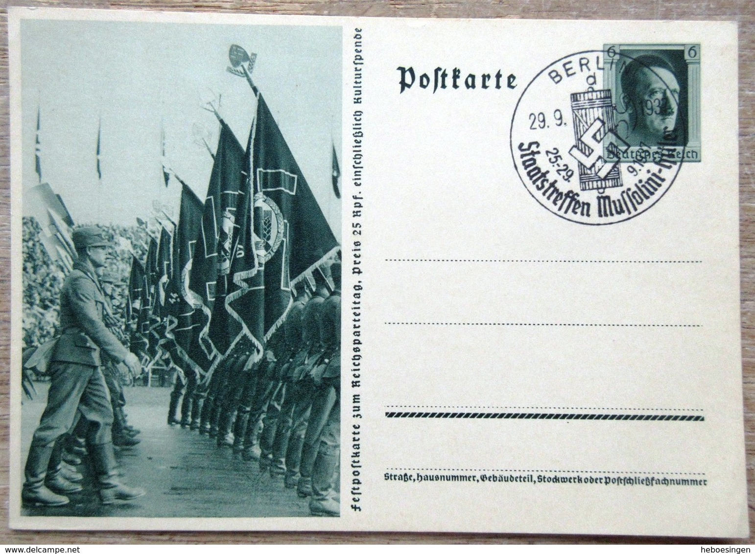 DR Ganzsache 6 Pfg. Hitler Festpostkarte Reichsparteitag SST Berlin - Deutschland