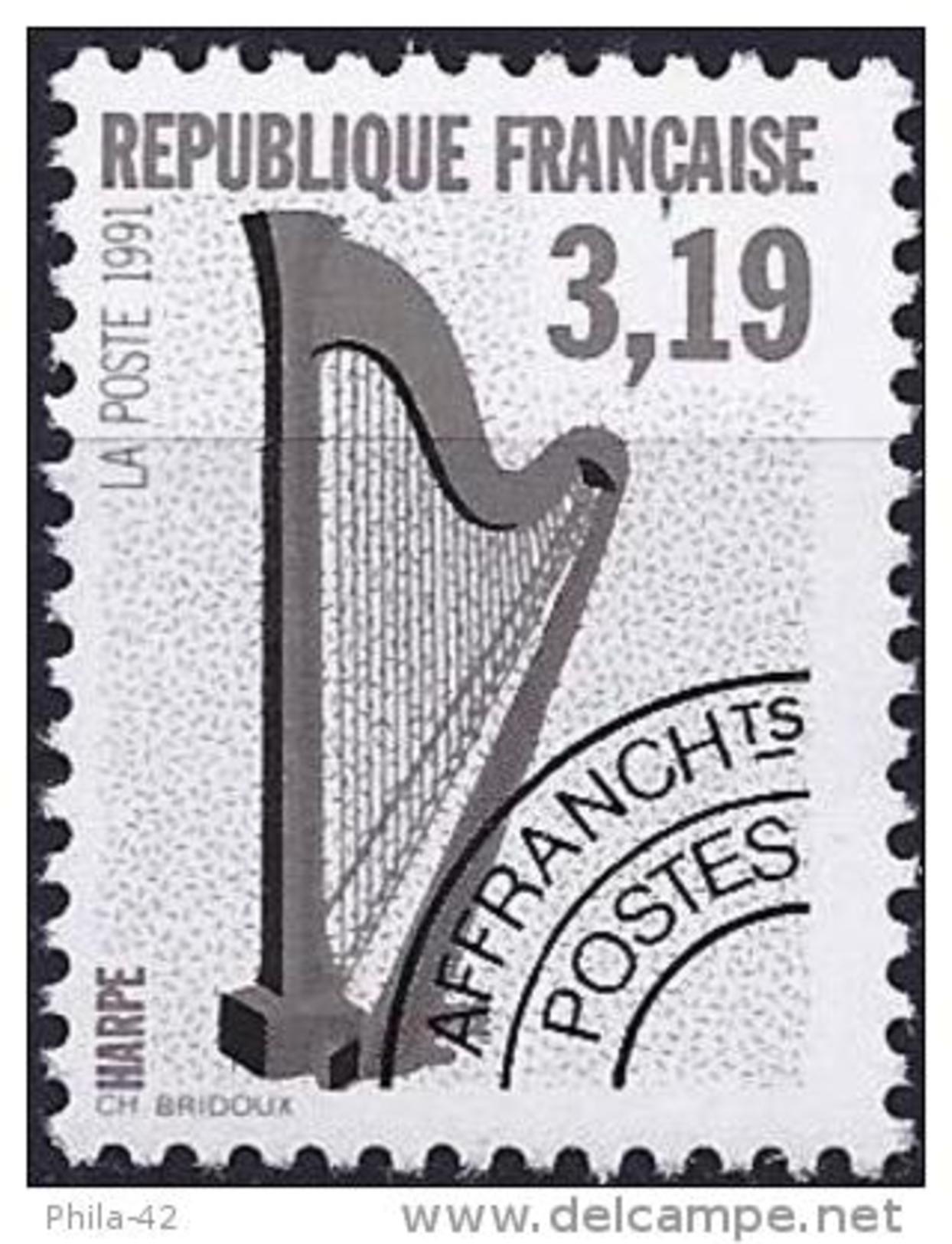 France 1992 - Mi 2878A - YT 220 ( Musical Instruments : Harp ) MNH** - Préoblitérés