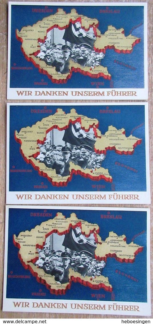 DR 3 Ganzsachen 6 Pfg. Wir Danken Unserm Führer 1 X SST Wien, 2 X Ungebraucht, Davon 1 X Zudruck Zum 1. Mai Großdeutschl - Deutschland