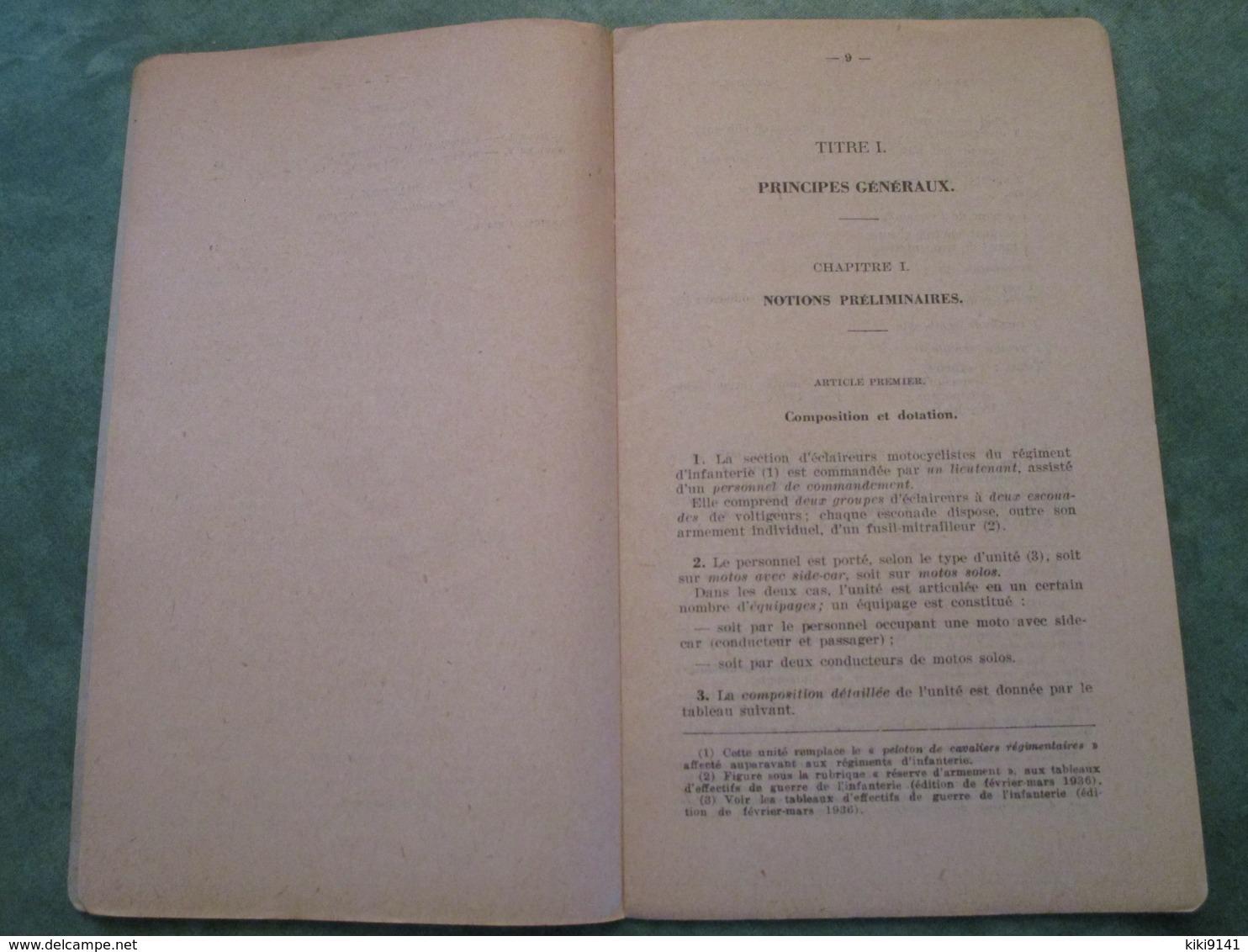 Instruction Provisoire Pour Les Sections D'Eclaireurs Motocyclistes D'Infanterie (34 Pages) - Français