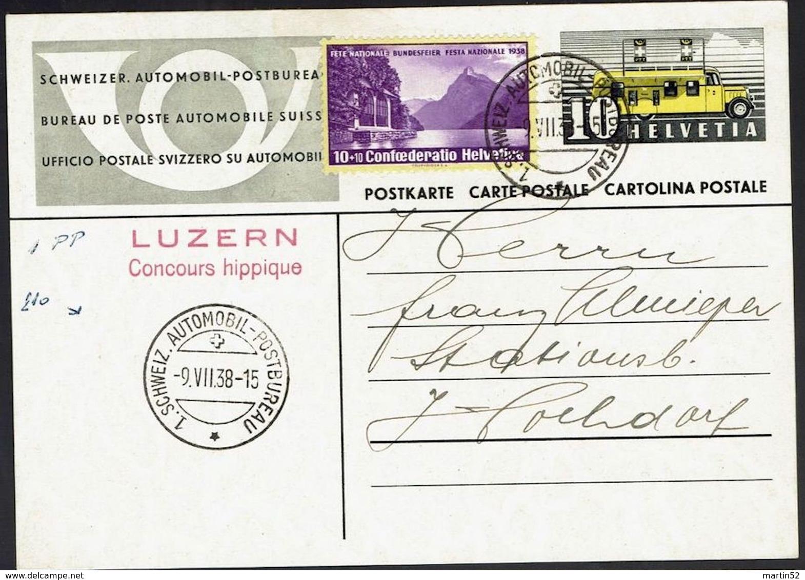 Schweiz Suisse 1938: PK Mit Zu Pro Patria 1 Mi 326 Yv 311 Mit O AUTOMOBIL-POSTBUREAU 19.VII.38 LUZERN Concours Hippique - Hippisme