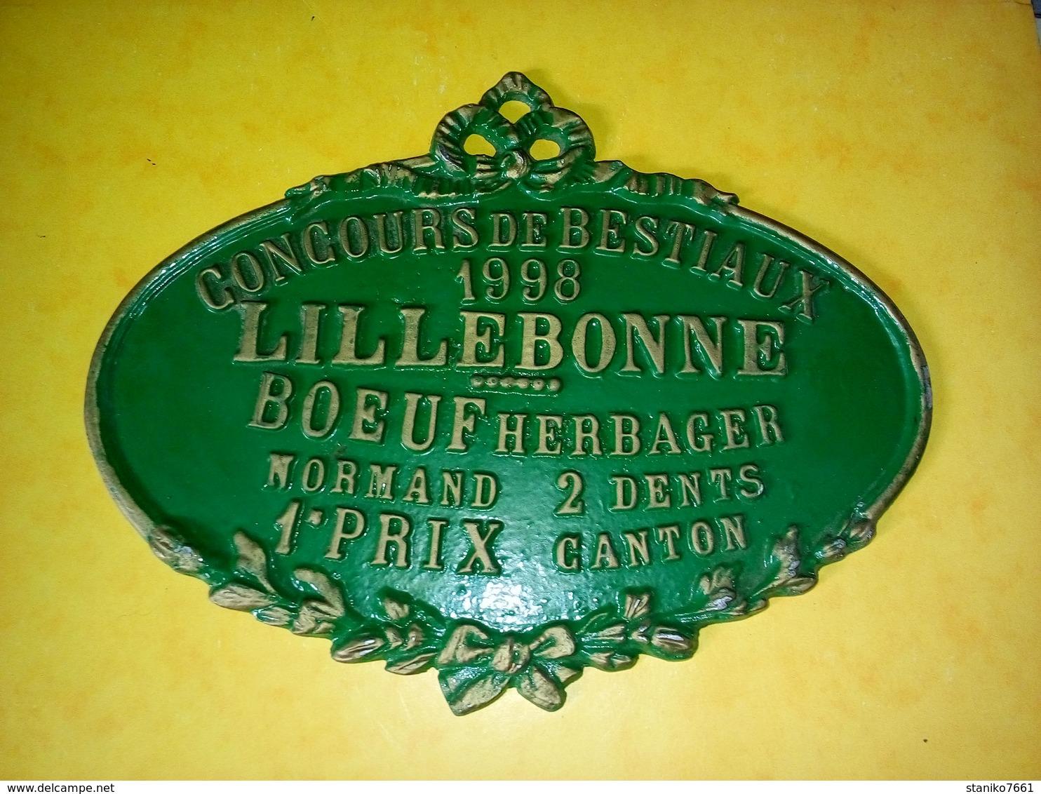 PLAQUE ÉMAILLÉE DE CONCOURS DE BESTIAUX 1998 LILLEBONNE BŒUF HERBAGER NORMAND 2 DENTS  1er PRIX CANTON - Ferronnerie