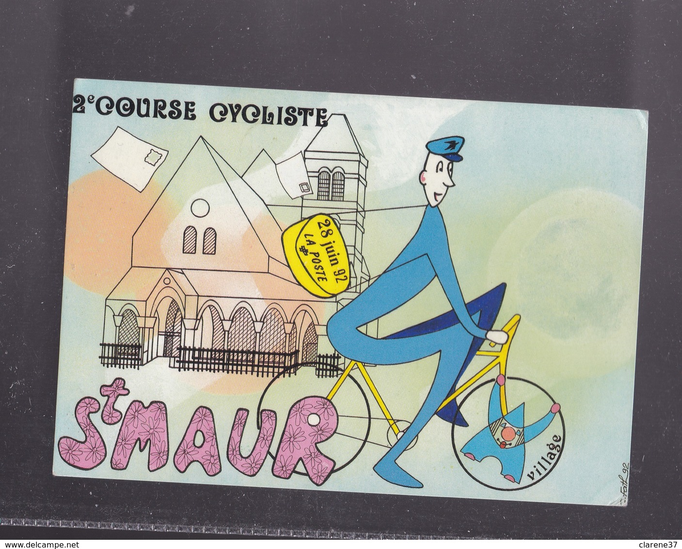 94 VLA DE MARNE , SAINT MAUR  , Carte Philatélique  2eme Course Des Facteurs 28 Juin 1992 - Saint Maur Des Fosses