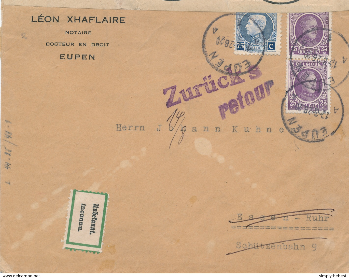 778/28 - CANTONS DE L'EST - Lettre TP Montenez Et Houyoux EUPEN 1926 Vers ESSEN - Inconnu , Retour + Bande - 1921-1925 Petit Montenez