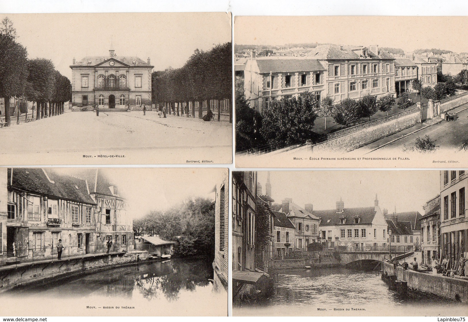 CPA 60 Oise Mouy Hôtel De Ville Ecole Primaire Et Professionnelle De Filles Bassin Du Thérain - Mouy