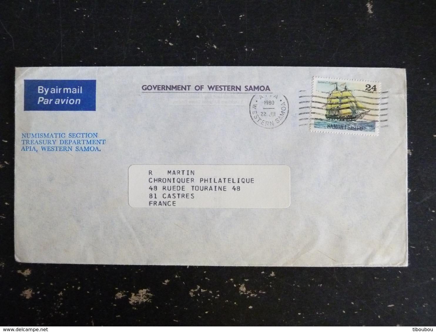 LETTRE SAMOA AVEC YT 438 - BATEAU VOILIER JAMES T. ARNOLD - Samoa