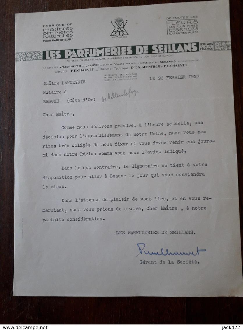 Lettre Ancienne. Les Parfumeries De Seillans. 1937 - 1900 – 1949