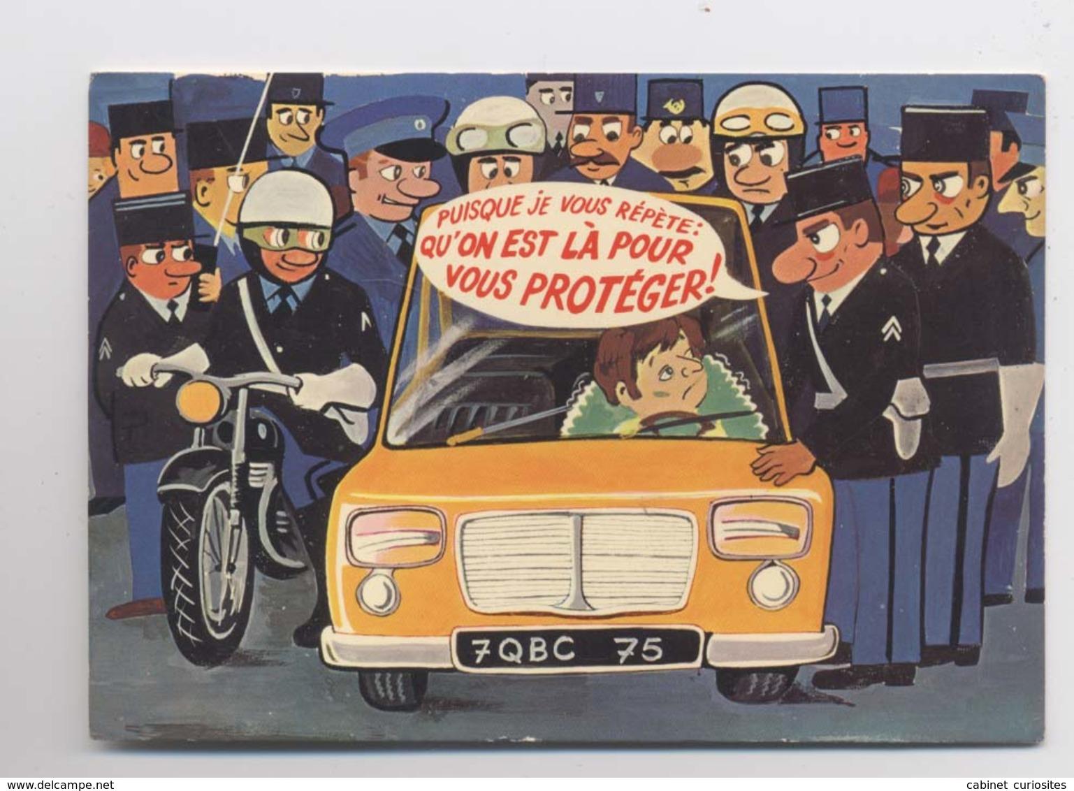 ILLUSTRATEUR R. ALLOUIN - On Est Là Pour Vous Protéger - POLICE - Policiers - GENDARMES - Humour - Animée - Polizia – Gendarmeria