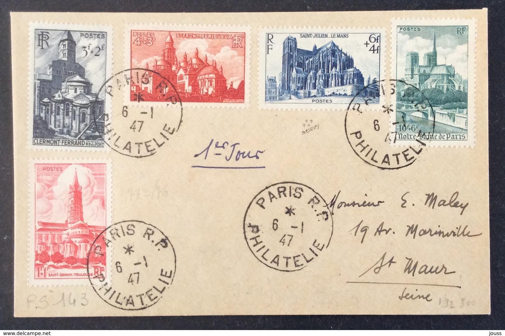 PS143 Cathédrales Série 772 à 776 Premier Jour 6/1/1947 Paris R.P. Philatélie - Postmark Collection (Covers)
