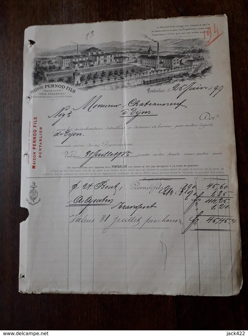 Ancienne Facture. Pontarlier. Maison Pernod Fils. 1897 - France