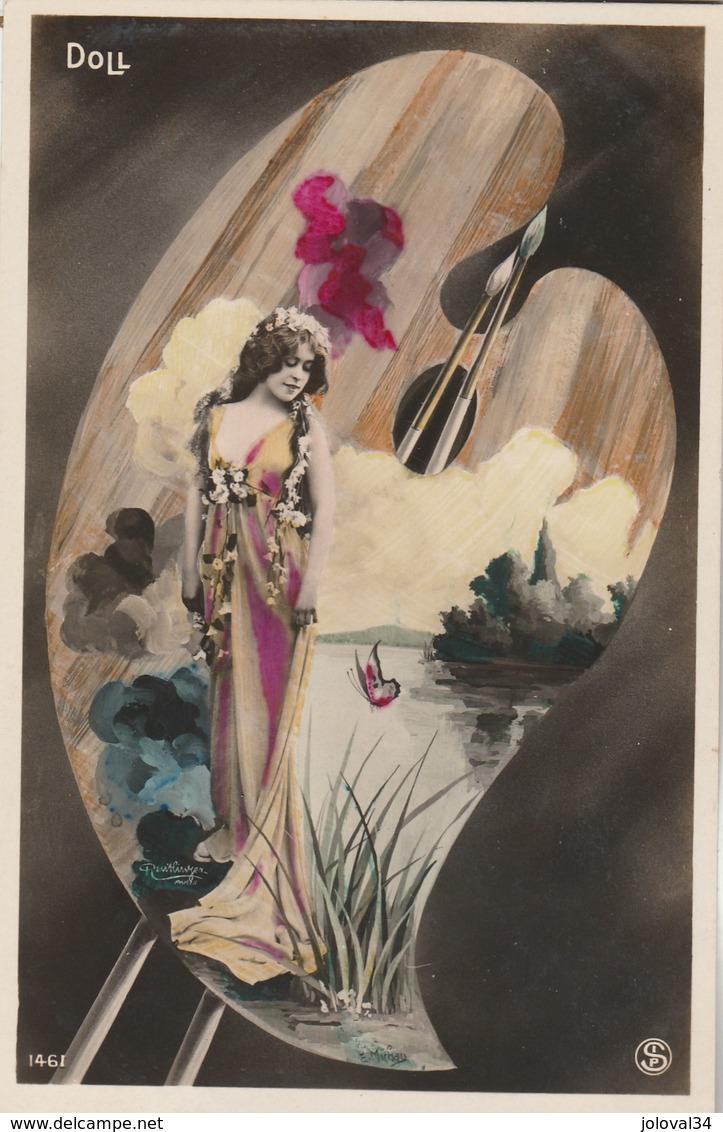 Artiste Femme DOLL Montage Style Art Nouveau Palette Peinture - Artistes