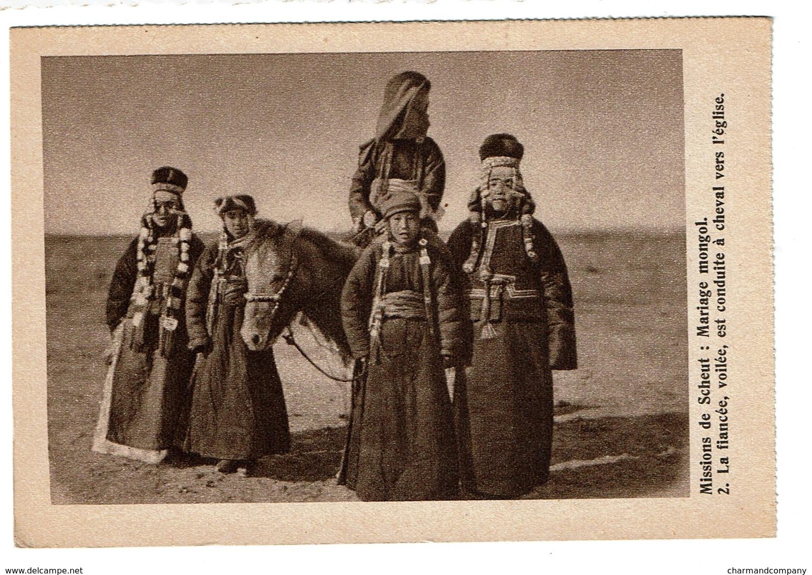Mongolie - Mariage Mongol - La Fiancée Voilée Est Conduite à Cheval à L'église - Mongolia - 2 Scans - Mongolie